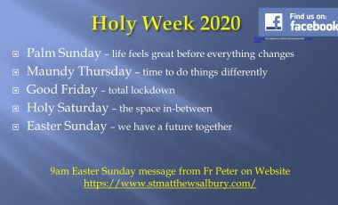 Palm Sunday and Holy Week 2020
